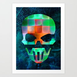 CHECKED DESIGN II - SKULL Art Print