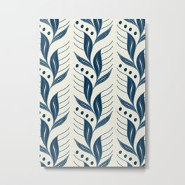 Indigo Leaves #society6 #pattern #indigo Metal Print