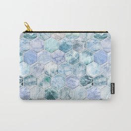 Ice Blue and Jade Stone and Marble Hexagon Tiles Carry-All Pouch