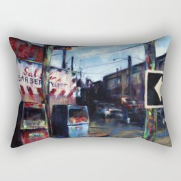Old Gas Pumps & the Barber Shop Rectangular Pillow