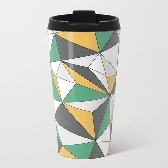 Geo - orange, green, gray and white. Metal Travel Mug