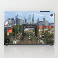 melbourne iPad Cases featuring Melbourne cityscape by Lesley Bourne