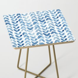 Blue Chevron Watercolour Side Table