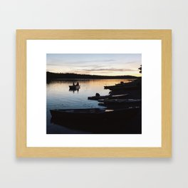 Tiny Boat & Paddle-boards at Sunset Framed Art Print