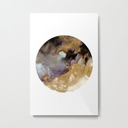 Gold & Black Abstract Ink Art F Metal Print