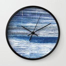 Metallic blue abstract watercolor Wall Clock