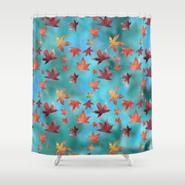 Dead Leaves over Cyan Shower Curtain