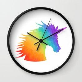 Rainbow Unicorn Silhouette Wall Clock