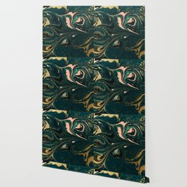 Abstract Pour Painting Liquid Marble Abstract Dark Green Painting Gold Accent Agate Stone Layers Wallpaper