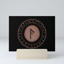 Laguz Elder Futhark Rune of the unconscious context of becoming or the evolutionary process Mini Art Print