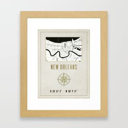 New Orleans - Vintage Map and Location Framed Art Print