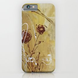 Yellow Tan Spring Abstract Flowers. Jodilynpaintings. Abstract Floral iPhone Case