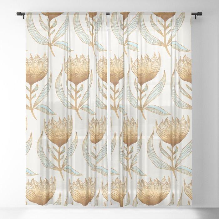 Bohemian Sunflower Pattern Sheer Curtain