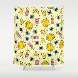 Cute Funny Happy Smiling Cat Pattern Shower Curtain