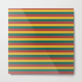 Retro colors horizontal lines green red yellow Metal Print