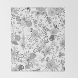 Abstract black white rustic modern floral illustration Throw Blanket