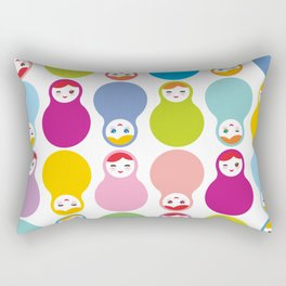 dolls matryoshka on white background Rectangular Pillow