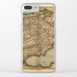 Antique Map of Spain, by Abraham Ortelius, circa 1570 Clear iPhone Case