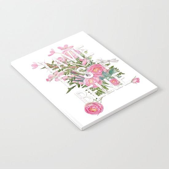 LAVIE EST BELLE - Watercolor - Pink flowers roses - rose flower Notebook