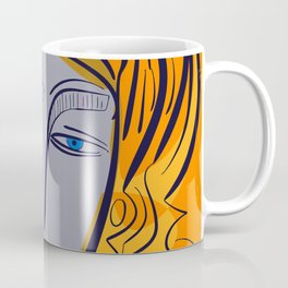 Orange purple pop girl portrait Coffee Mug