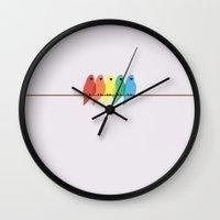birds Wall Clocks featuring Birds by Emma J. Hardy