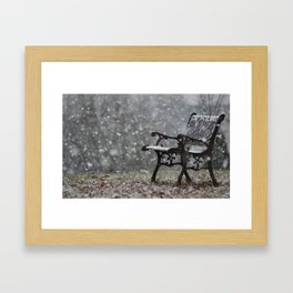 Snowfall in the loneliness Framed Art Print