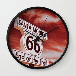 End of Route 66 in Santa Monica, California. Wall Clock