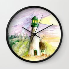 Lighthouse At Dusk Wall Clock