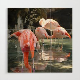 Pink Flamingos Wood Wall Art