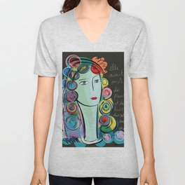 Girl with Flowers and Fruits in her hair Unisex V-Neck
