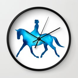 Turquoise Dressage Horse Silhouettes Wall Clock