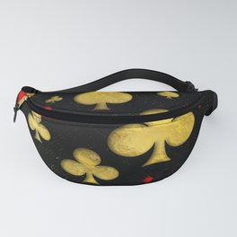 Abstract Gold and Red Suits Pattern Digital Art Fanny Pack