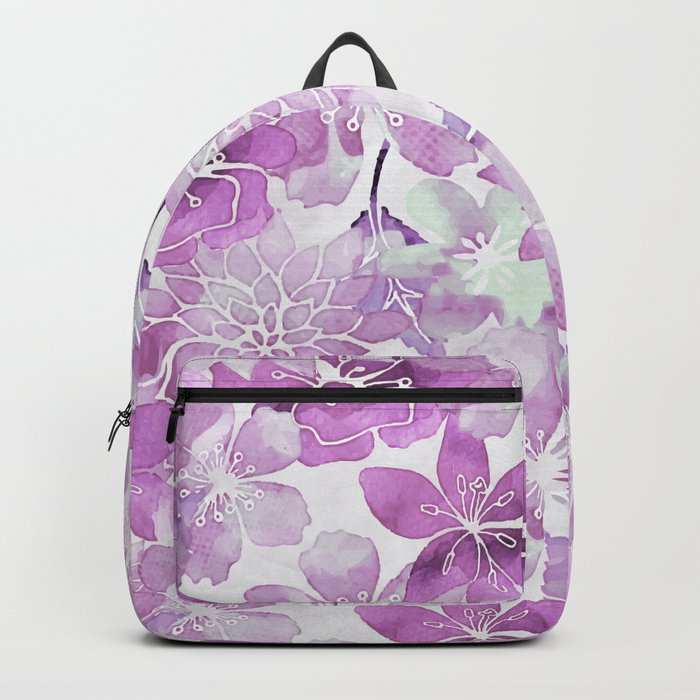 Soft Pink Pastel Watercolor Flower Pattern Backpack