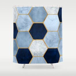 Deco Blue Marble II with Metallic Gold Accents Shower Curtain