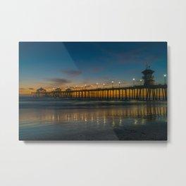 Pier Lights at Dusk Metal Print
