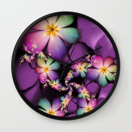 Rainbow Flowers Growing in Purple Clouds Wall Clock