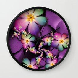 Rainbow Flowers Growing in Purple Clouds Wall Clock