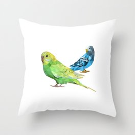 Geometric green and blue parakeets Throw Pillow