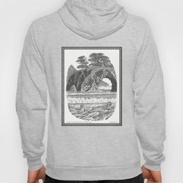 SEASIDE ARCH, BISHOP PINE, AND DRIFTWOOD VINTAGE PEN DRAWING Hoody