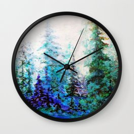 BLUE MOUNTAIN PINES LANDSCAPE Wall Clock