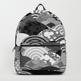 Nature background with japanese sakura flower, Cherry, wave circle Black gray white colors Backpack