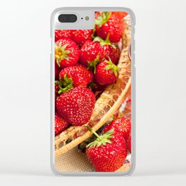 Red strawberries in basket and juice Clear iPhone Case
