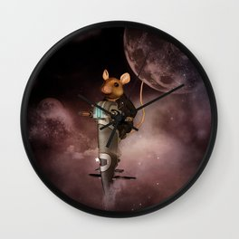 Funny mouse in the universe Wall Clock