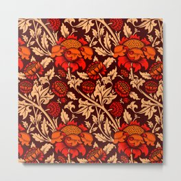 Red Vintage flowers pattern for fine home decoration Metal Print