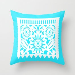 OLE - Papel Picado - square pillow - turquoise Throw Pillow