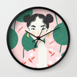 Pink Dragonfly Wall Clock
