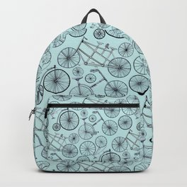Monochrome Vintage Bicycles On Soft Blue Backpack