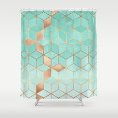 Soft Gradient Aquamarine Shower Curtain