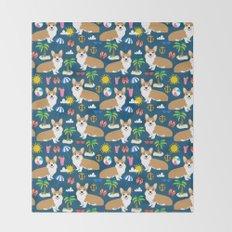 Corgi Beach summer fabric - cute dogs design Throw Blanket