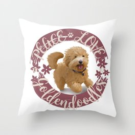 Peace, Love, Goldendoodles Throw Pillow